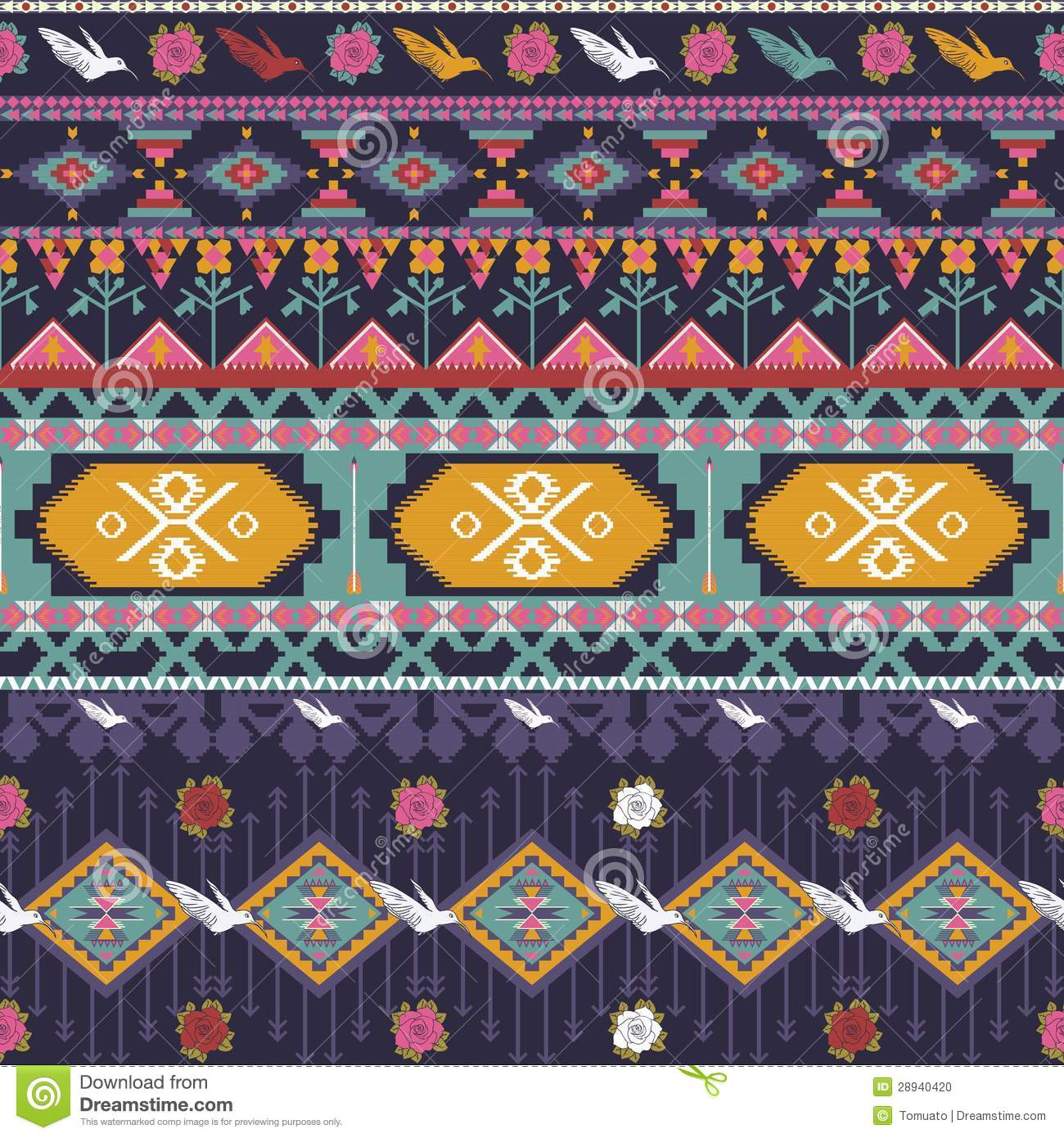 Colorful Aztec Patterns Seamless colorful aztec