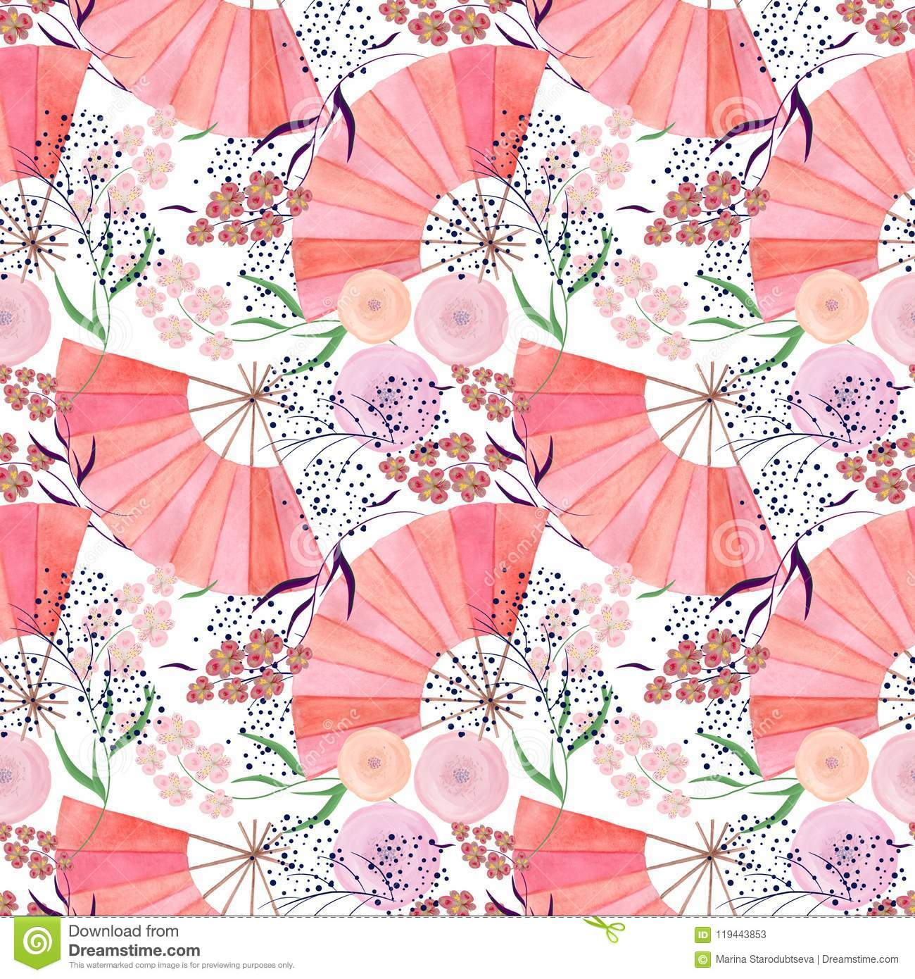 Seamless Colorful Floral Pattern Background In Japanese Style