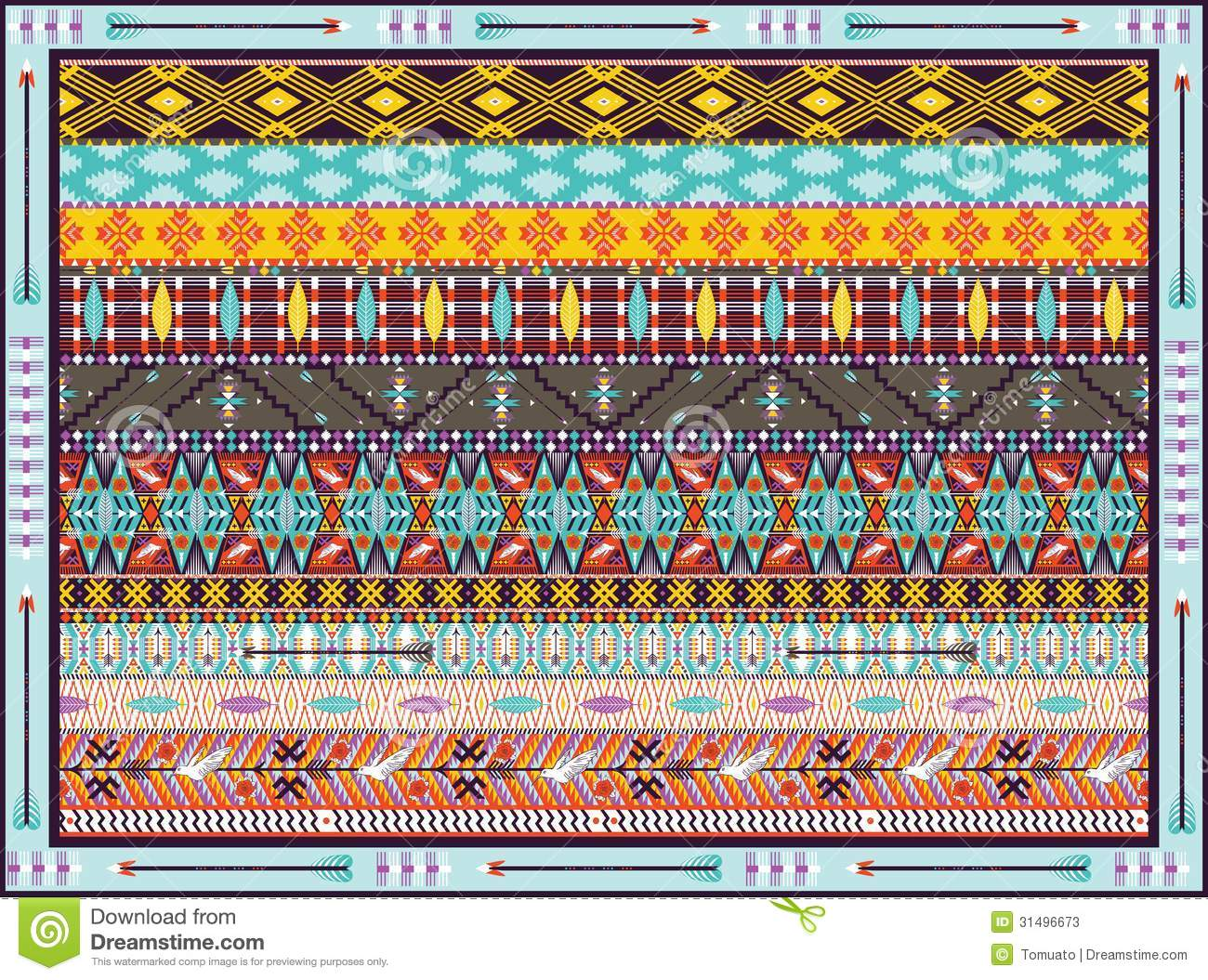 Seamless Colorful Geometric Tribal Pattern Stock Photos