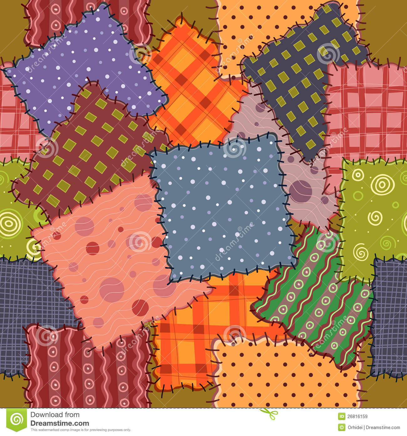 Seamless Of Colorful Patchwork Royalty Free Stock Images
