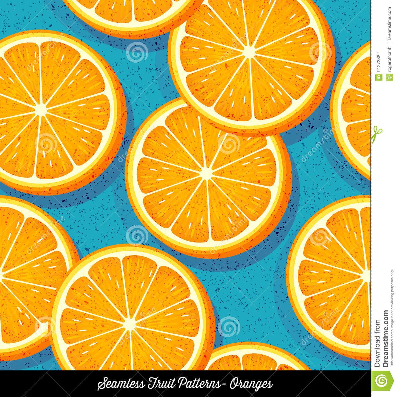 Seamless colorful pattern of sliced oranges