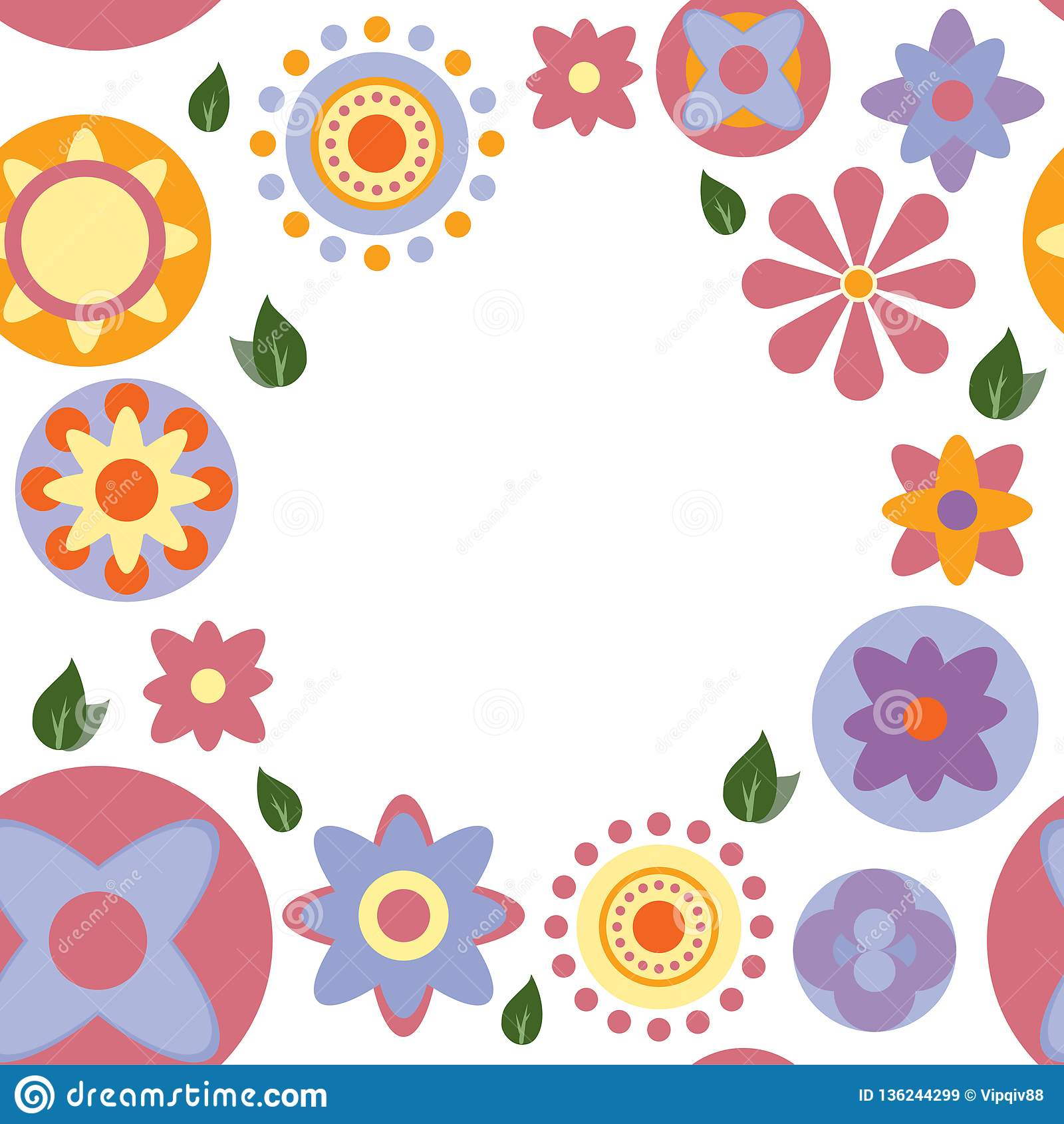 Seamless colour floral card on white background