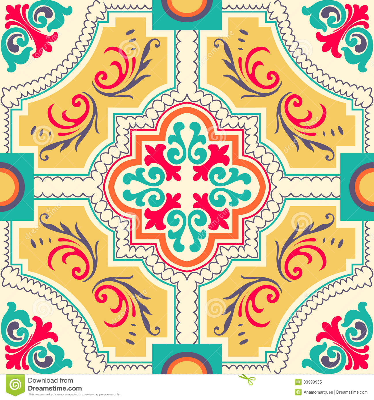 Seamless Colourful Ornament Tiles Stock Vector Image