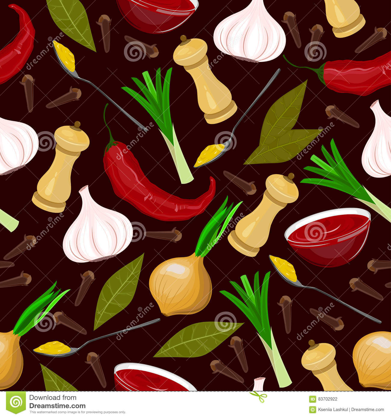 Seamless Condiments And Spices Illustration. Stock Vector