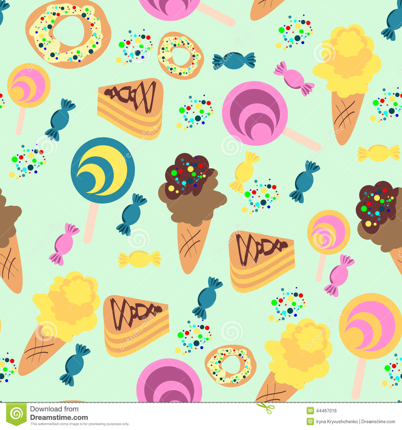 Sweet Ice Cream Flat Colorful Seamless Pattern Vector: Seamless Confection Pattern. Ice-cream, Candies, Pies