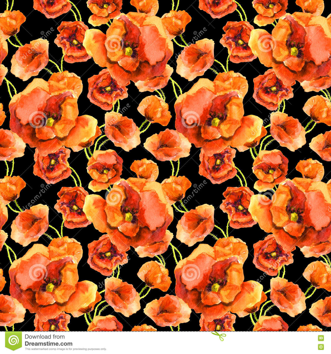 Seamless Contrast Floral Wallpaper With Red Poppy Flowers On Black