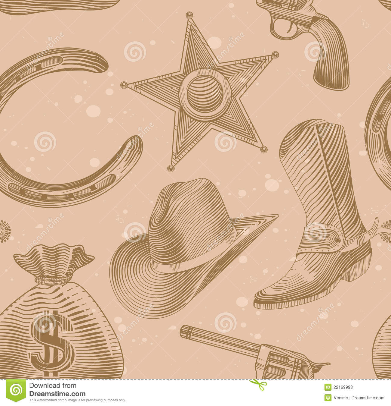 Seamless Cowboy Pattern In Engraving Style Royalty Free ...