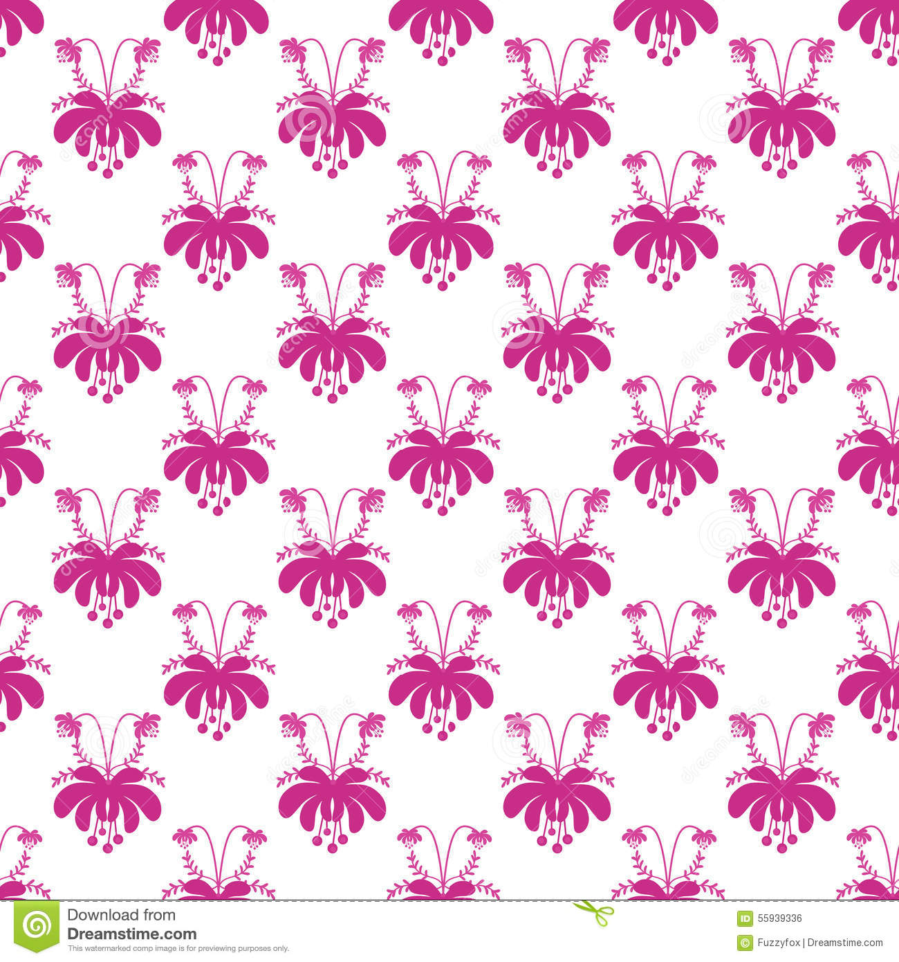 Seamless Cute Cartoon Flowers Pattern On White Background Stock