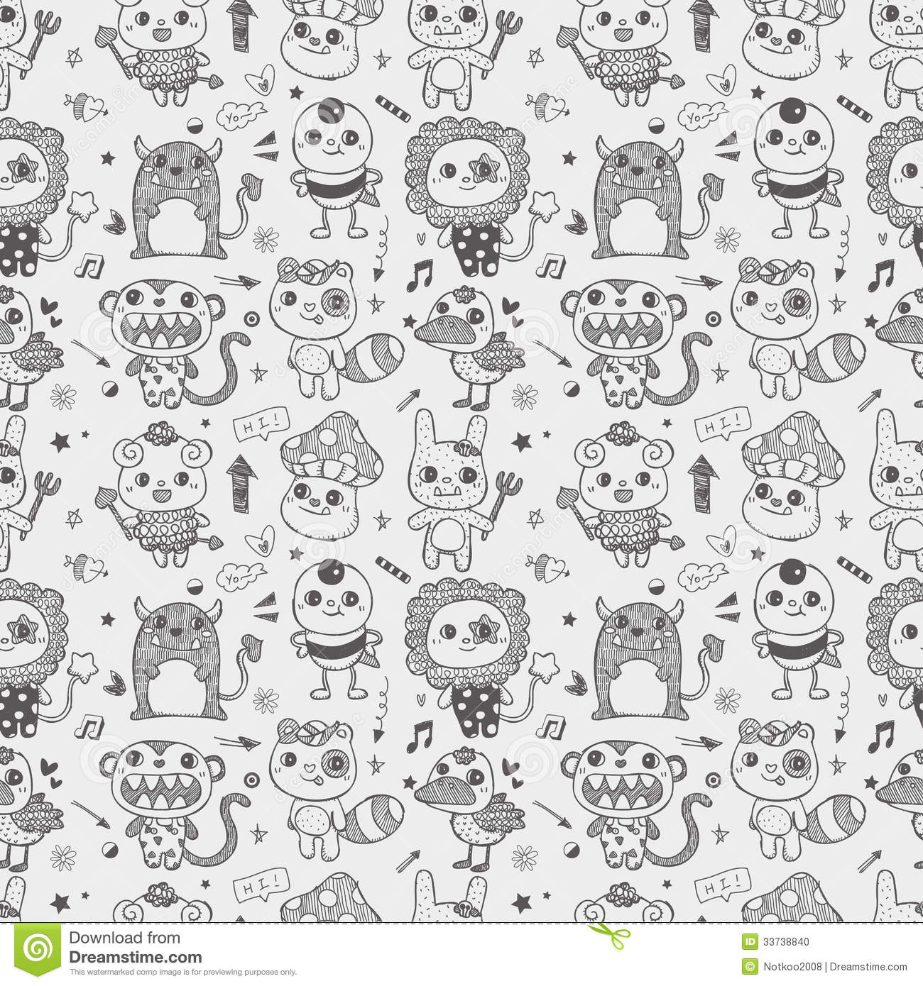 Seamless Cute Doodle Monster Pattern Background Stock Photo Image