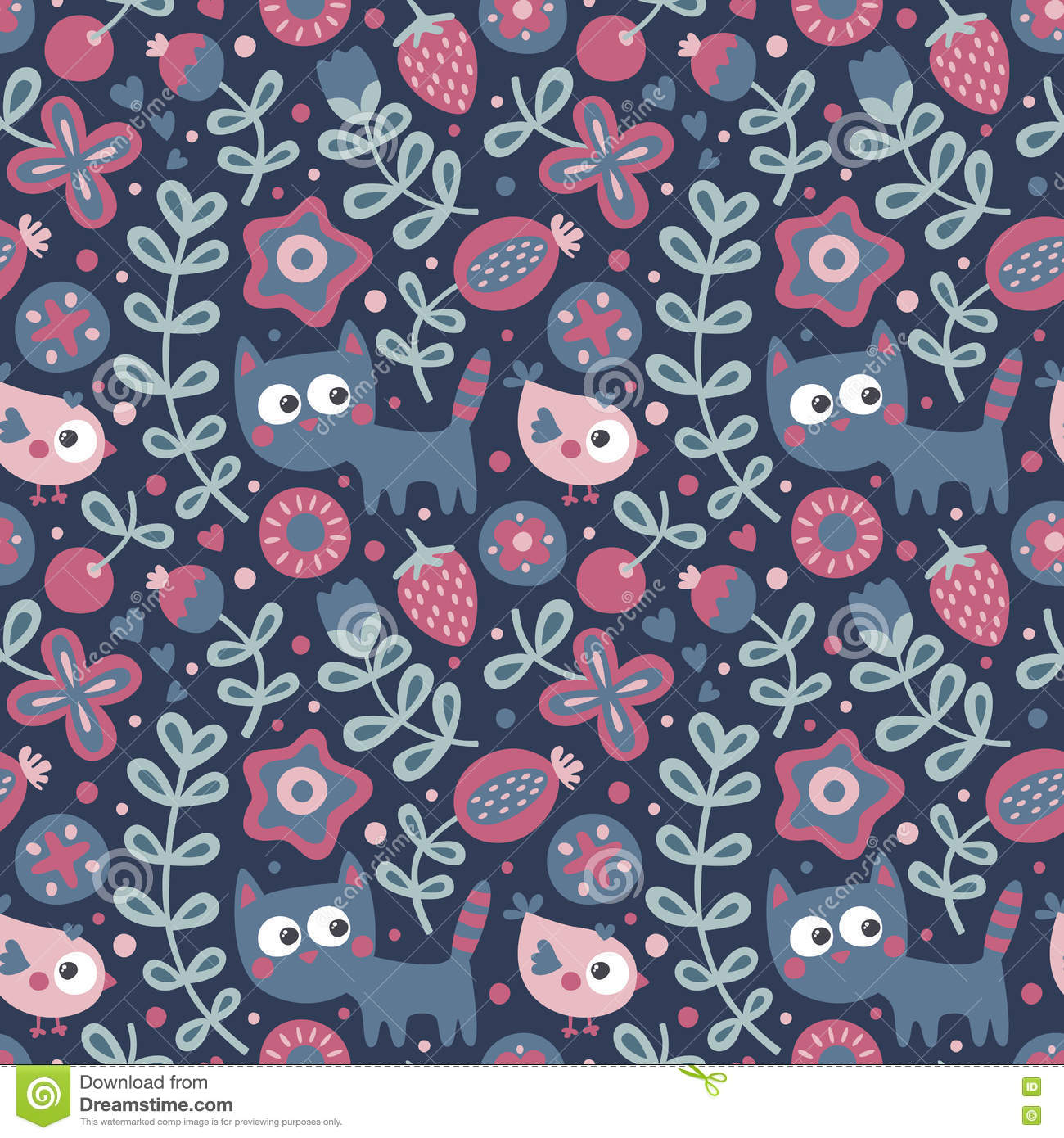 Seamless Cute Floral And Animal Pattern With Cat Bird Flowers Plants Leaf Berry Funny Collection Design