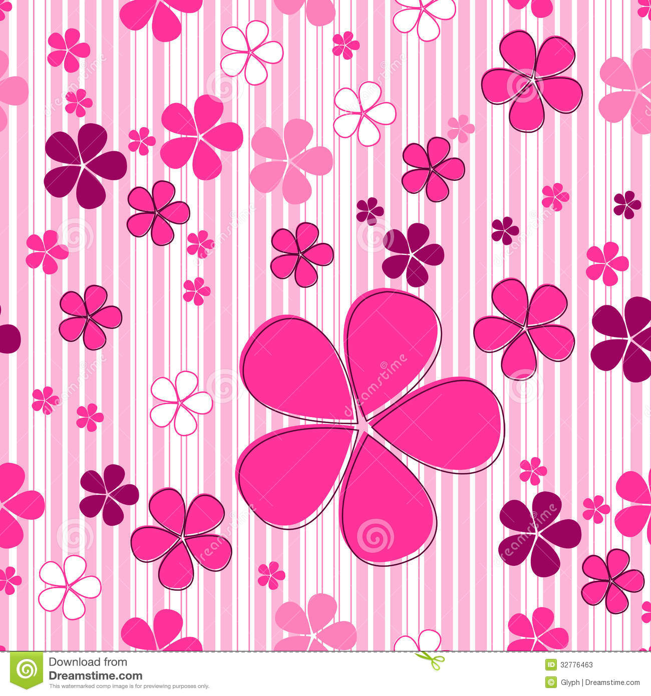 Seamless Cute Floral Background Stock Vector Illustration Of
