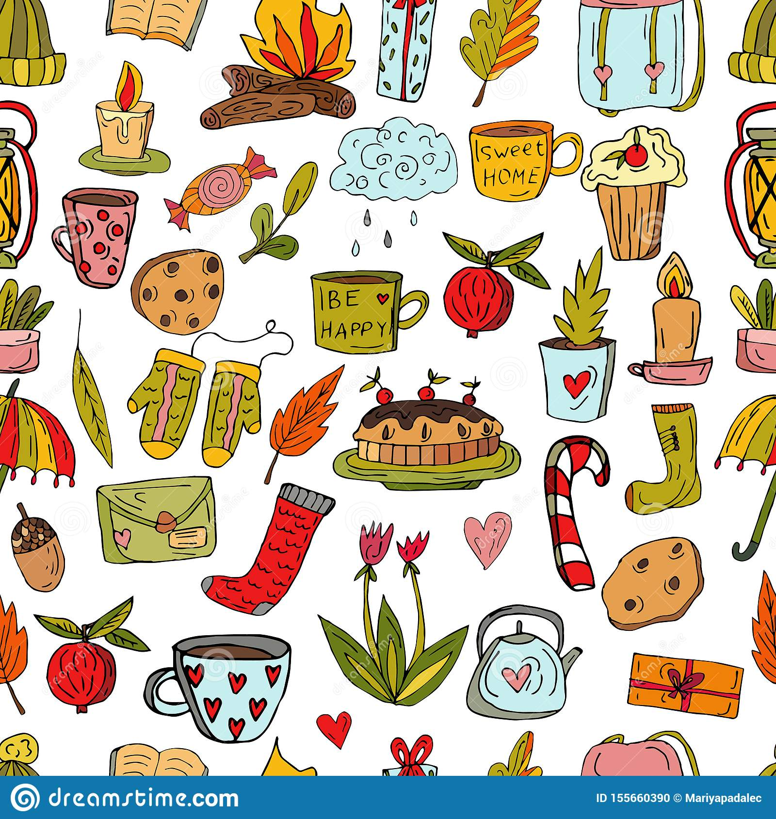 Seamless cute pattern in Scandinavian style. Cherry pie, knitted hat, cup with silver eggs, teapot, flowers and a vintage lantern