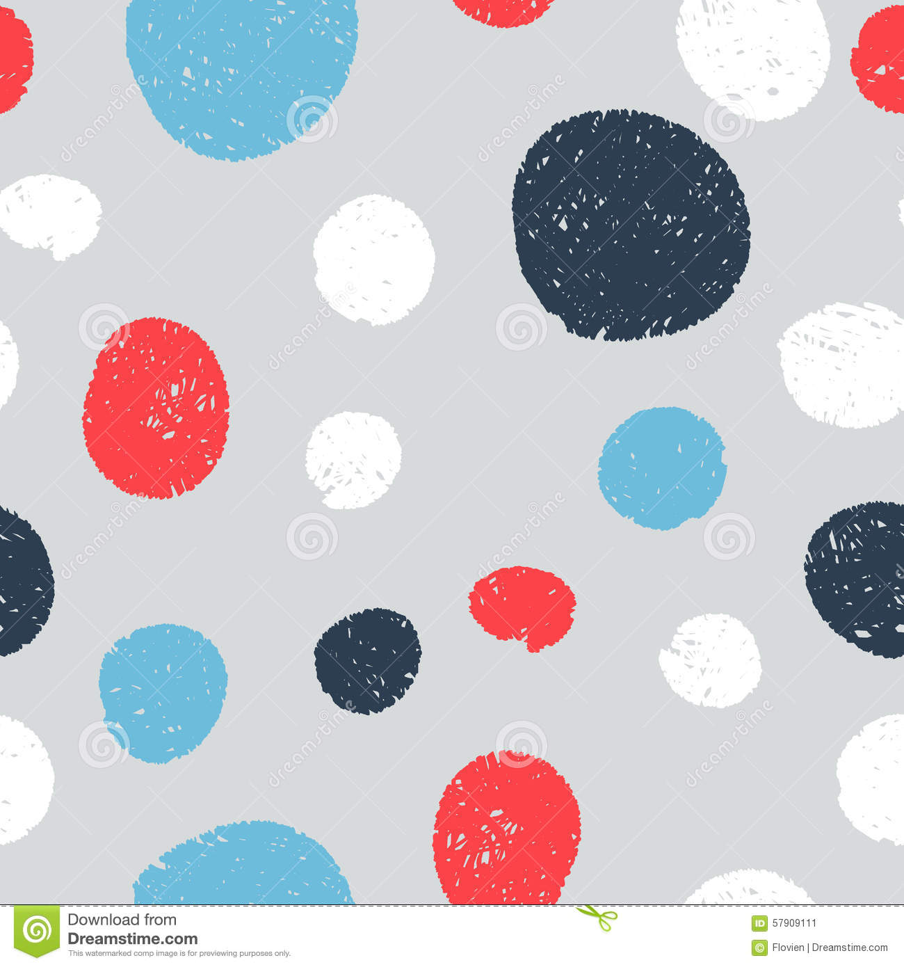 Stock Illustration Seamless Cute Patterns Circles Hatched Lines Hand V...