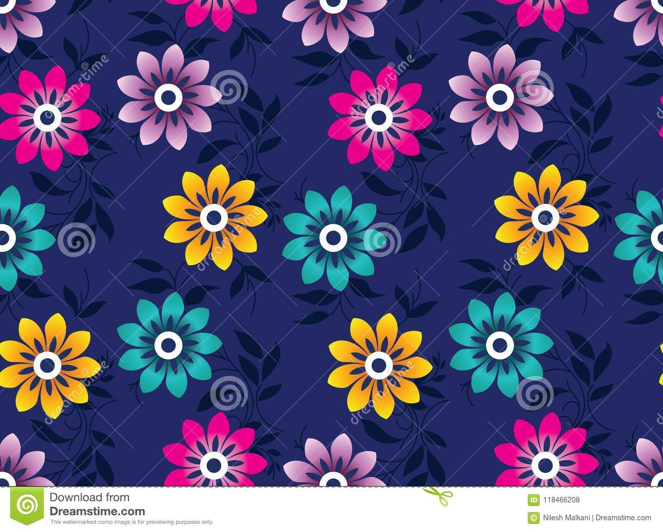 Seamless Cute Vector Floral Wallpaper Stock Vector Illustration