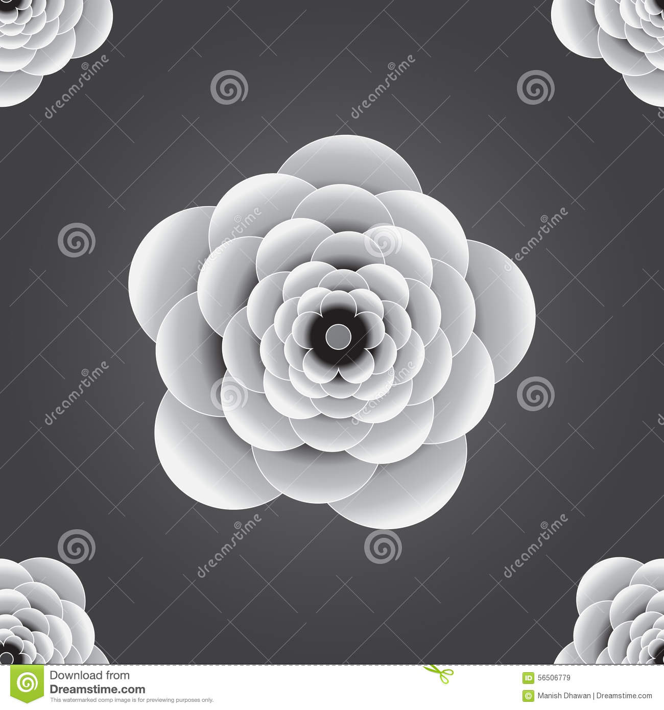 Seamless 3d Black And White Embossed Flower Background