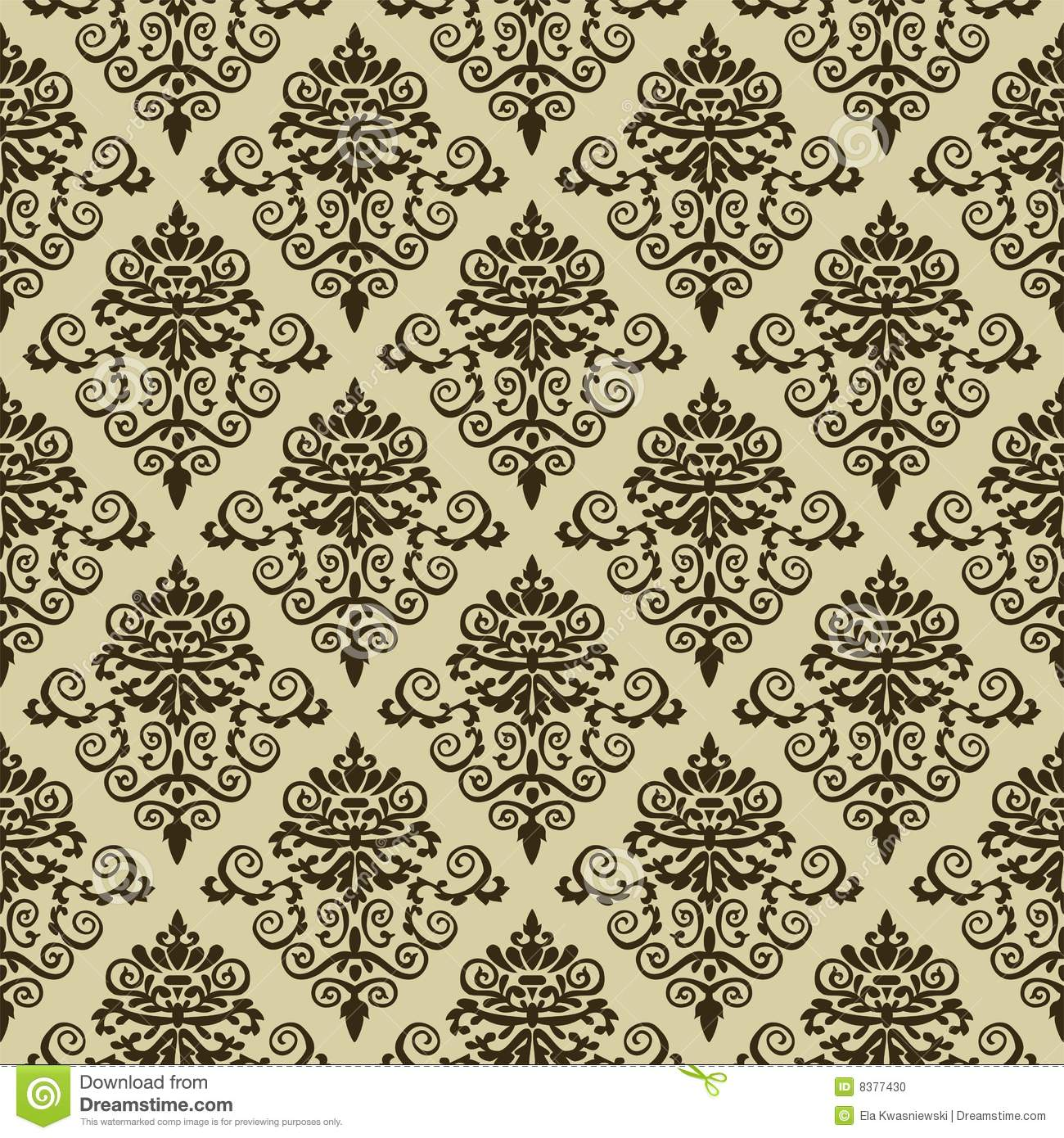 Seamless damask pattern wallpaper. Seamless Damask Pattern Wallpaper Stock Photo   Image  8377430