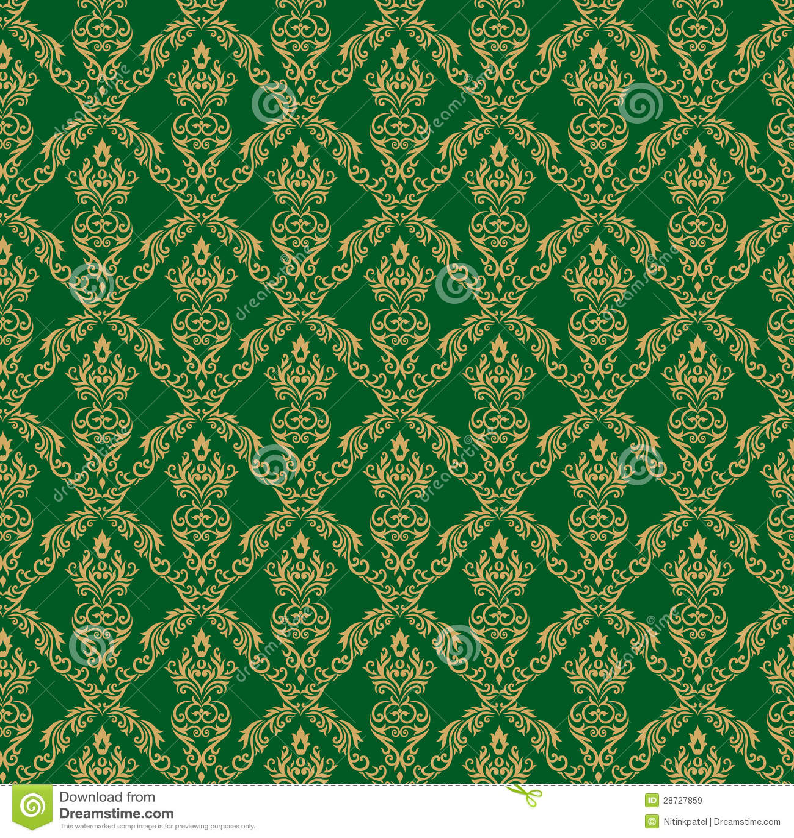 Seamless Damask Wallpaper 1 Green Color