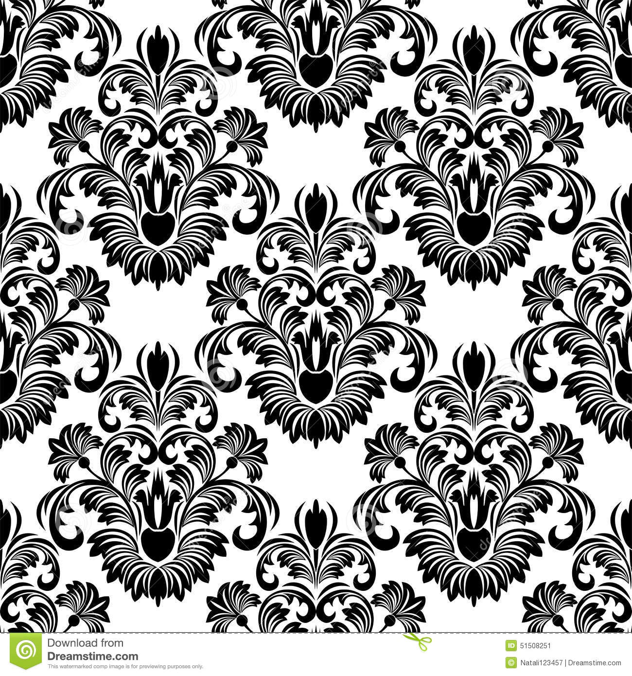 Seamless damask wallpaper for design black on white for Black white damask wallpaper mural
