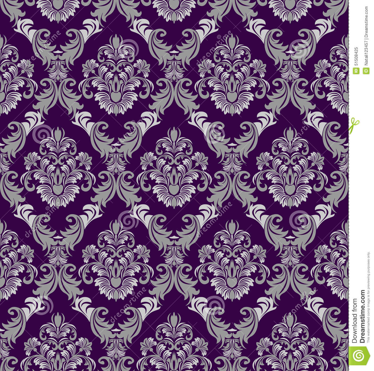 Seamless Damask Wallpaper In Victorian Style For Design