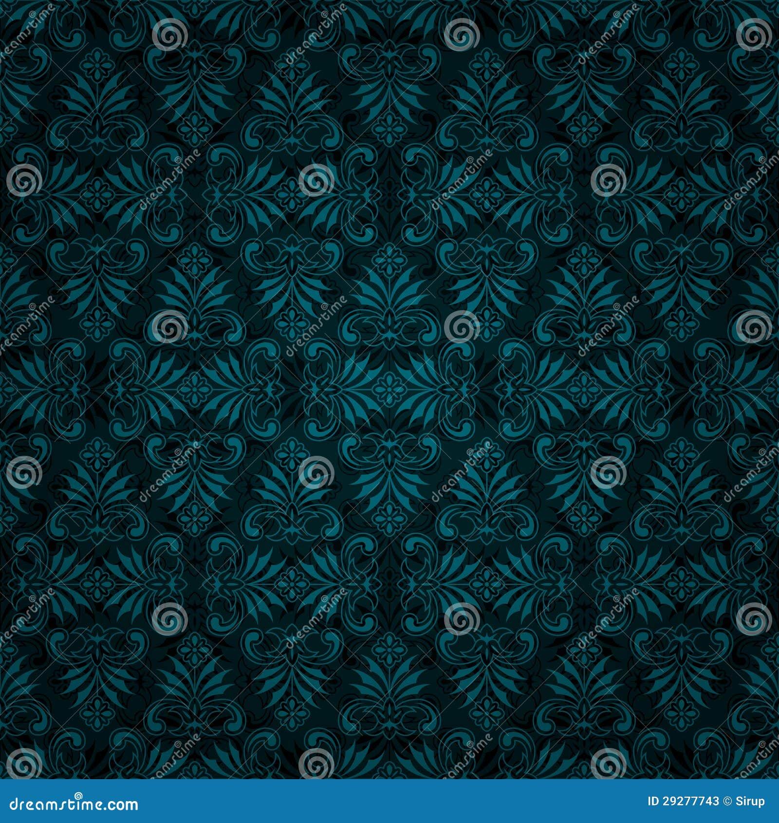 Seamless Dark Blue Tile Vintage Wallpaper Design Stock