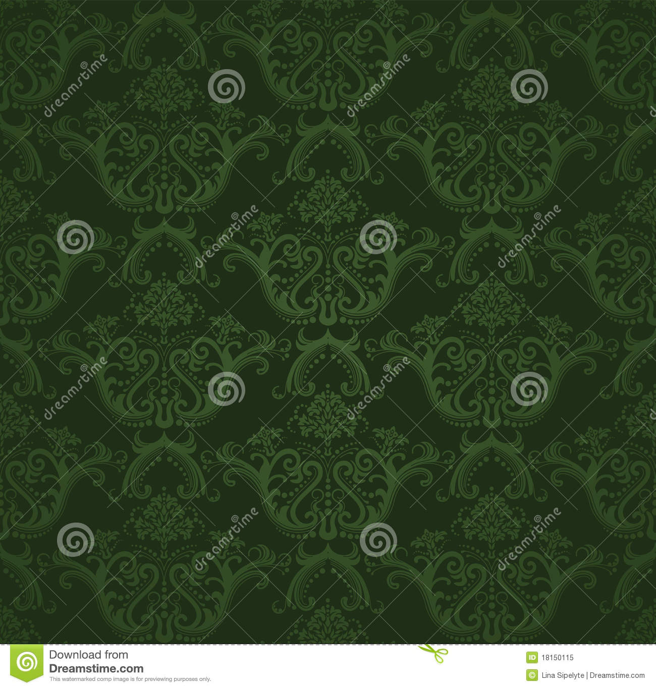 Seamless Dark Green Floral Wallpaper Stock Vector Image