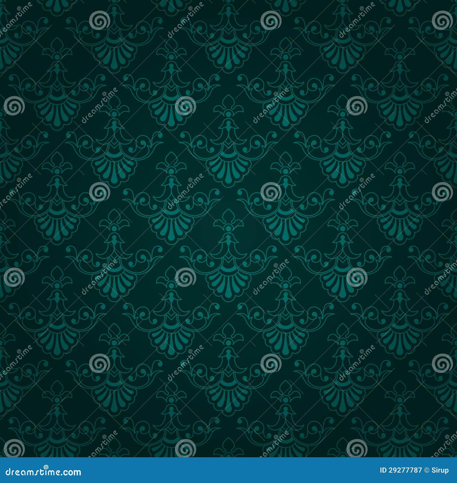 Seamless dark green vintage wallpaper design stock vector - Green design ...