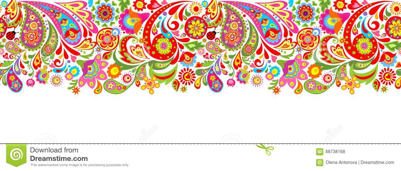 Seamless Decorative Border With Abstract Colorful Flowers