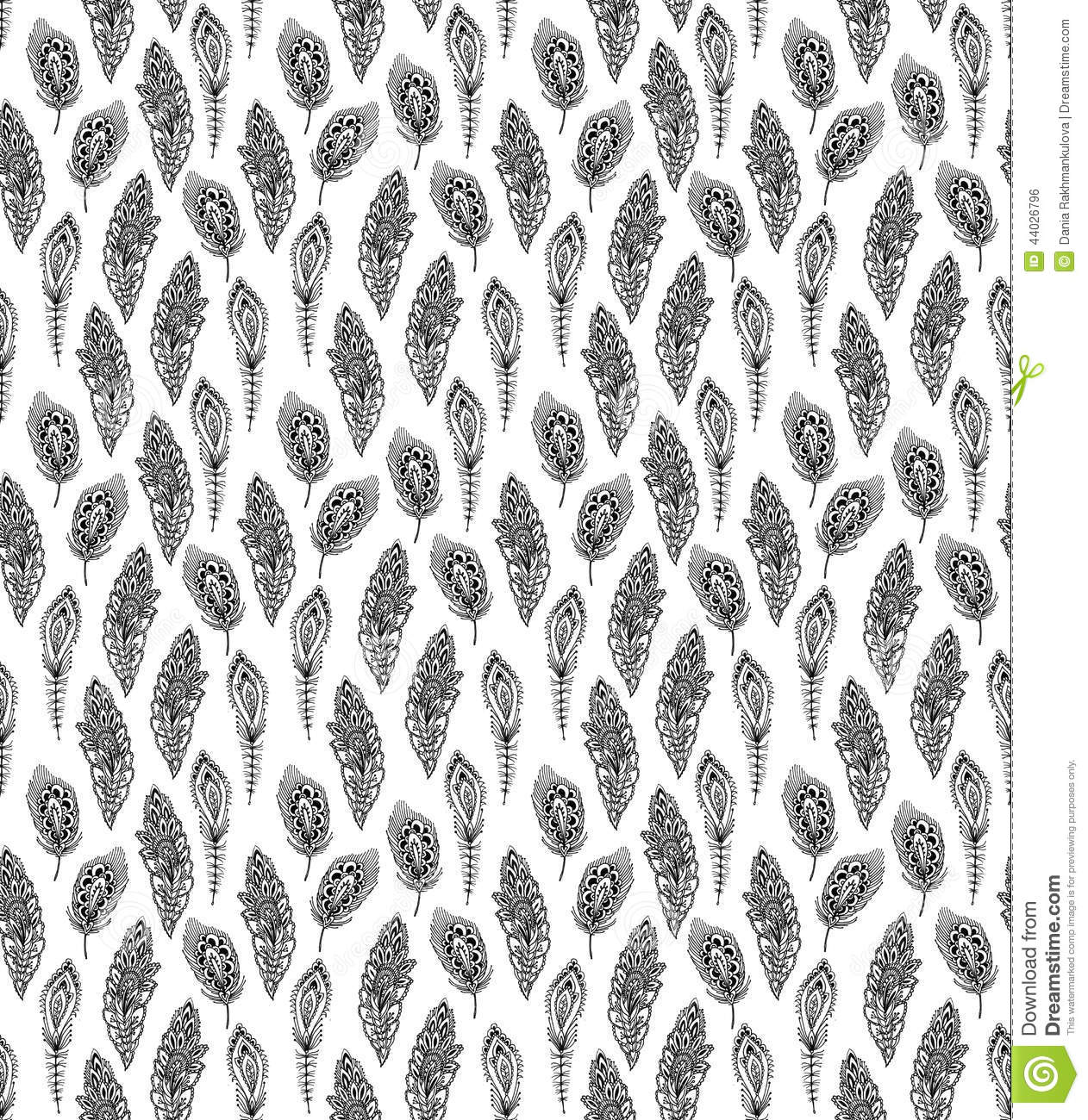 Seamless Decorative Pattern With Graphic Peacock Feathers