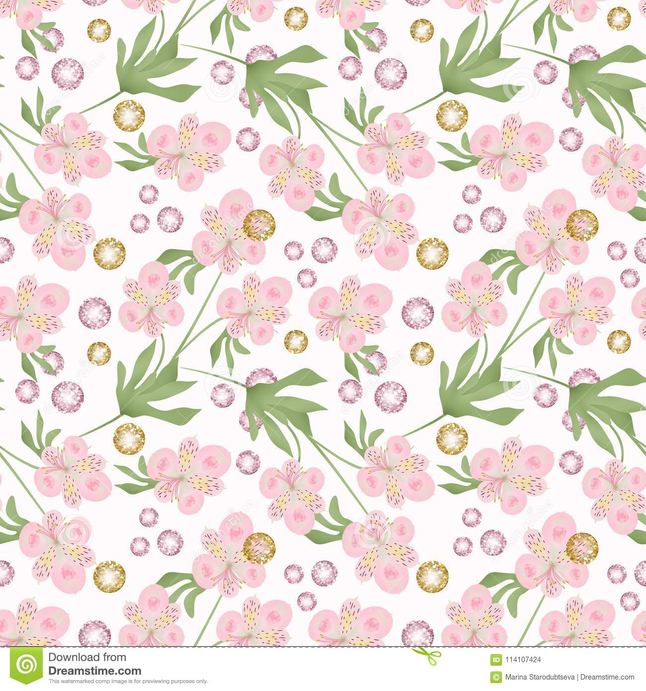 Seamless Delicate Pink Flowers On White Background Stock