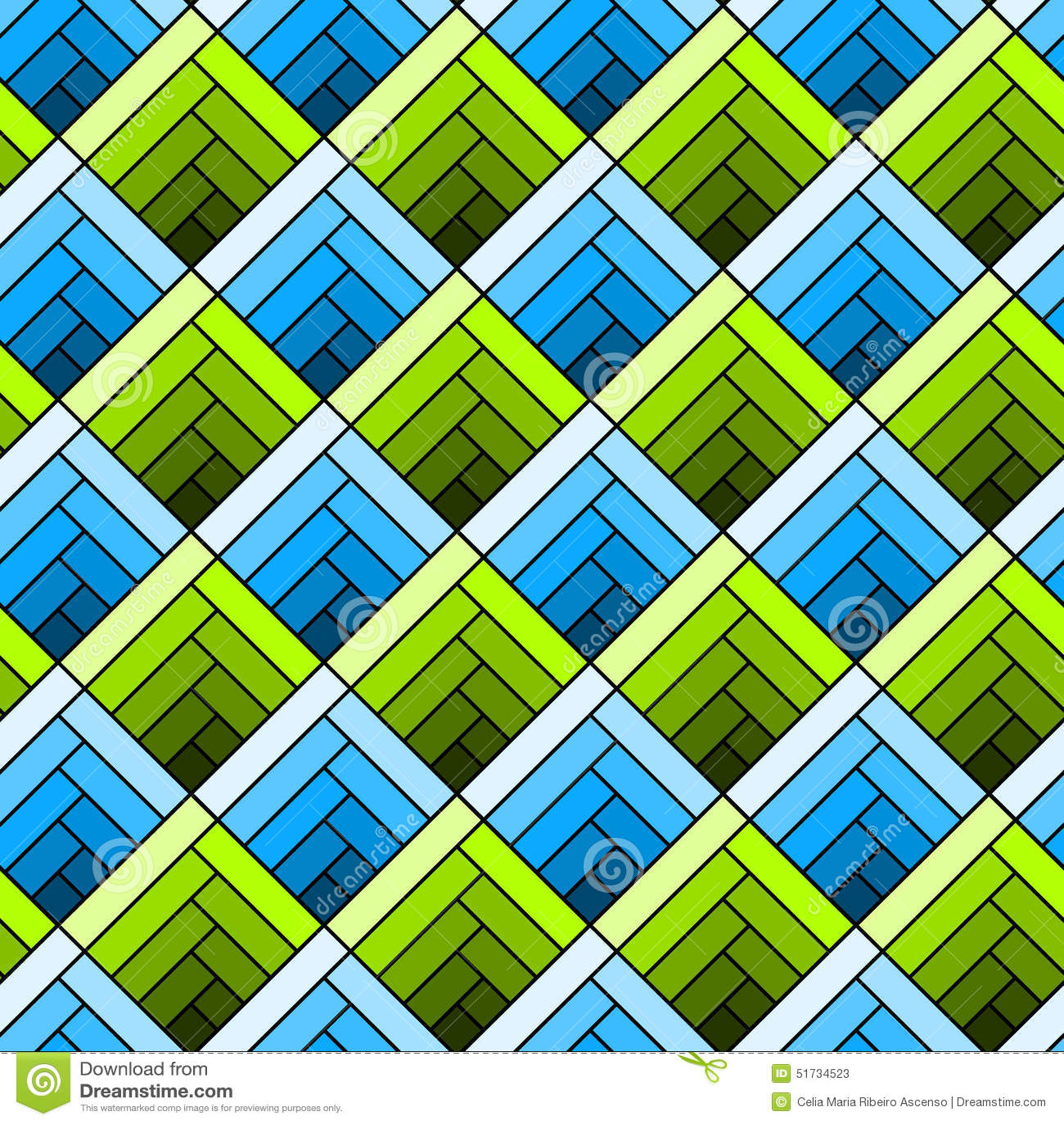 Seamless Diagonal Squares Tile Pattern Stock Illustration