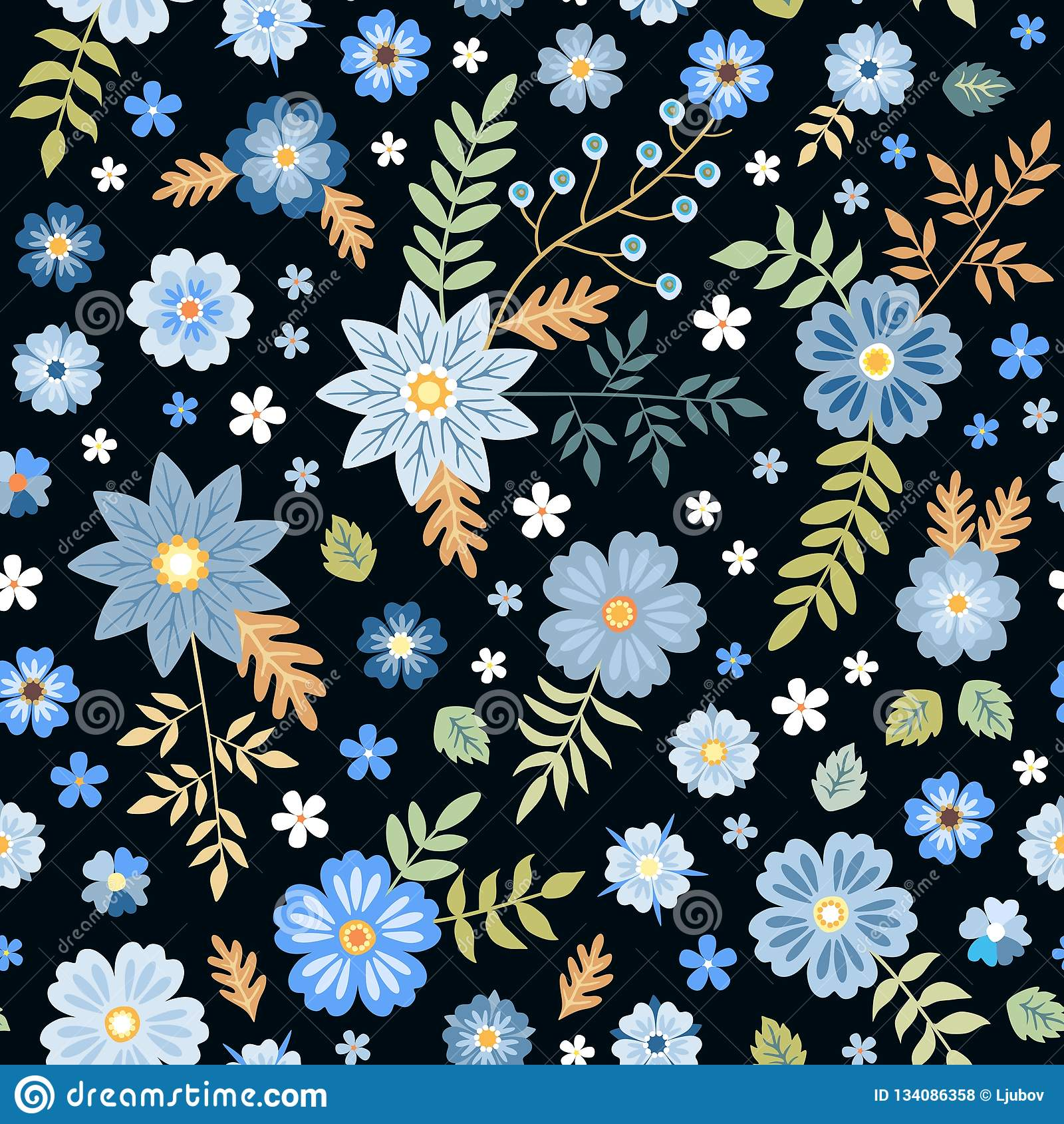 Seamless Ditsy Floral Pattern With Blue Flowers On Black