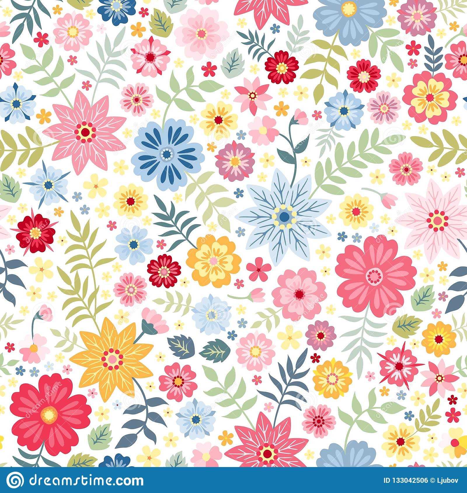 Seamless ditsy floral pattern with cute little flowers on white background. Vector illustration.