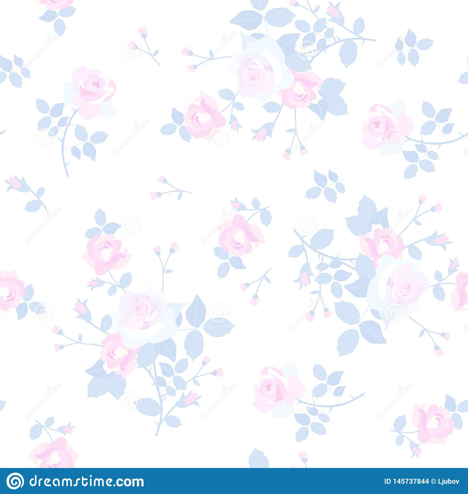 Seamless ditsy floral pattern with tender little bunchs of rose flowers isolated on white background. Wallpepr, print for fabric