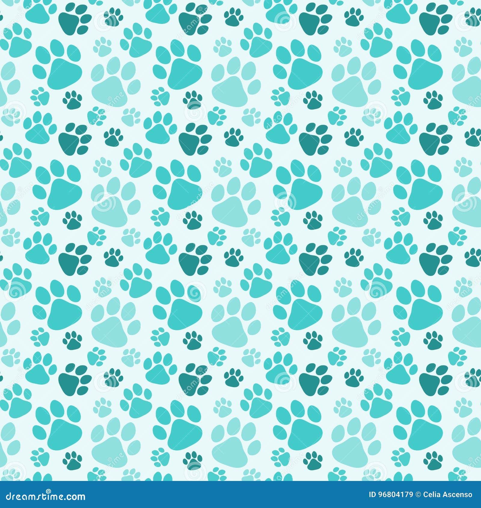 Paw prints background cartoon vector - Dog print wallpaper ...