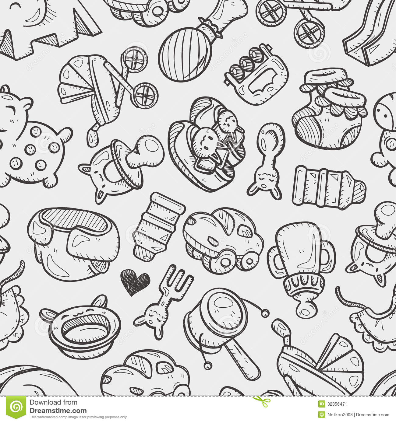 Drawings Of Toys For Boys : Seamless doodle baby toy pattern stock vector