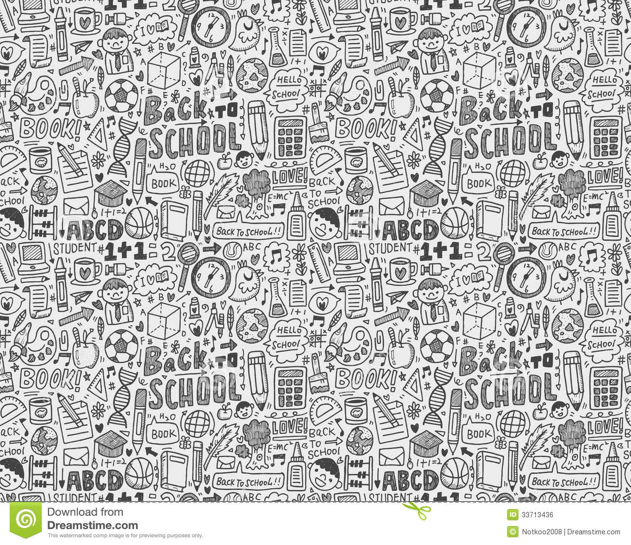 Seamless Doodle Back To School Pattern Royalty Free Stock