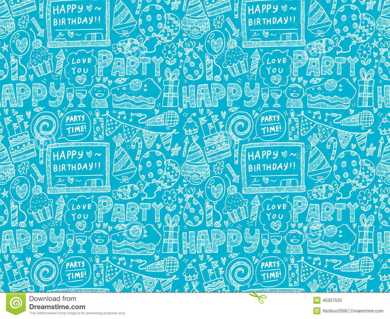 Seamless Doodle Birthday Party Pattern Background Stock