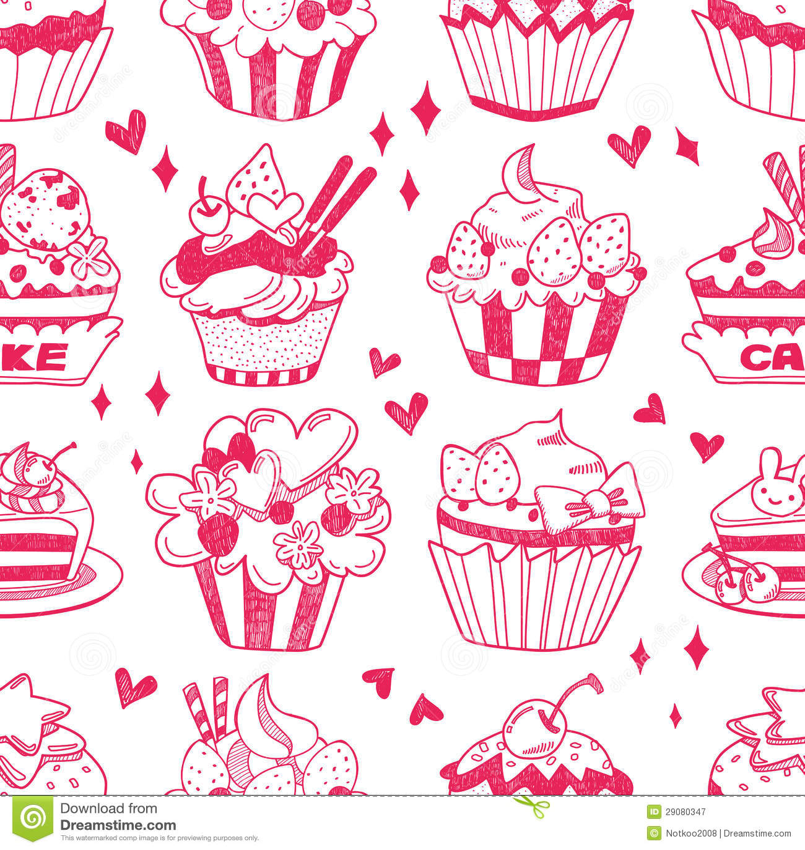 Seamless Doodle Cake Pattern Royalty Free Stock