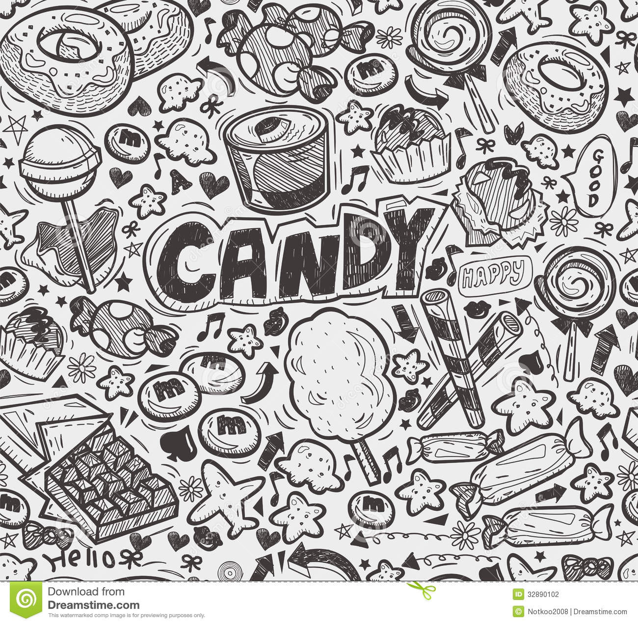 Seamless Doodle Candy Pattern Stock Vector Illustration