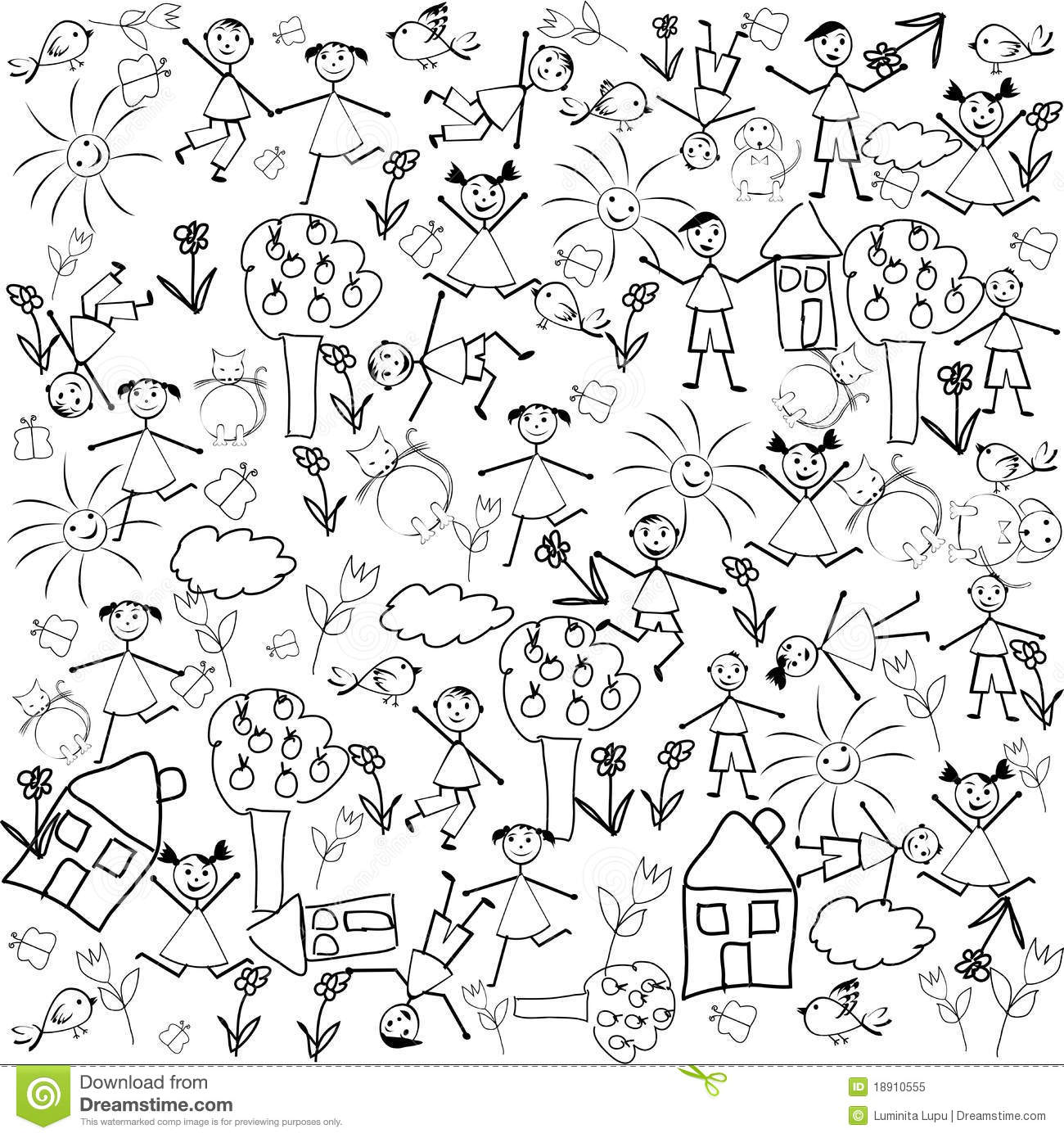 Seamless With Doodle Characters