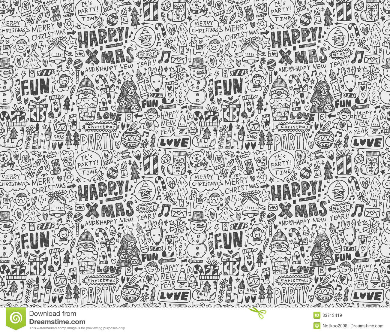 Seamless Doodle Christmas Pattern Stock Vector Image