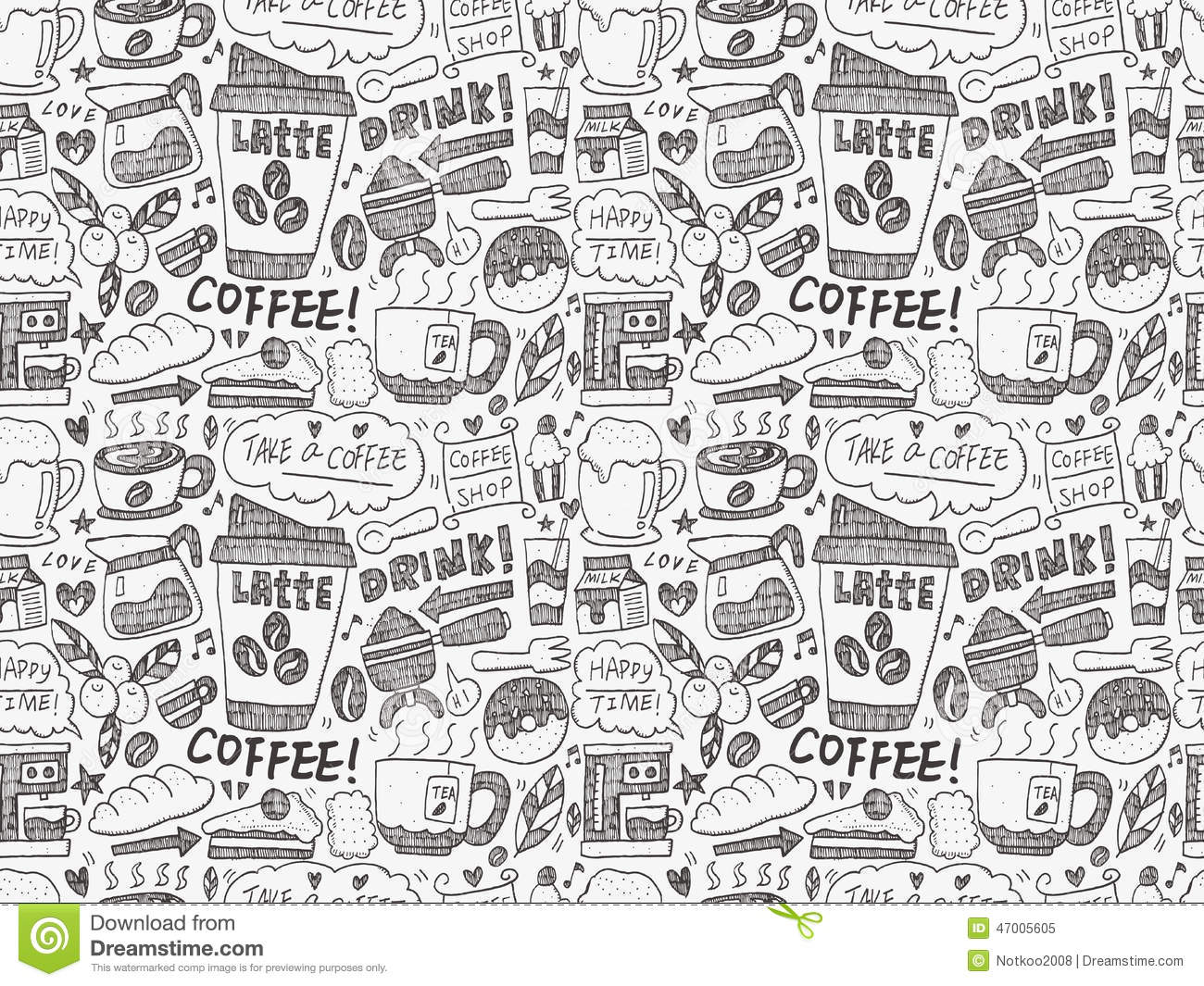seamless doodle coffee pattern - photo #13
