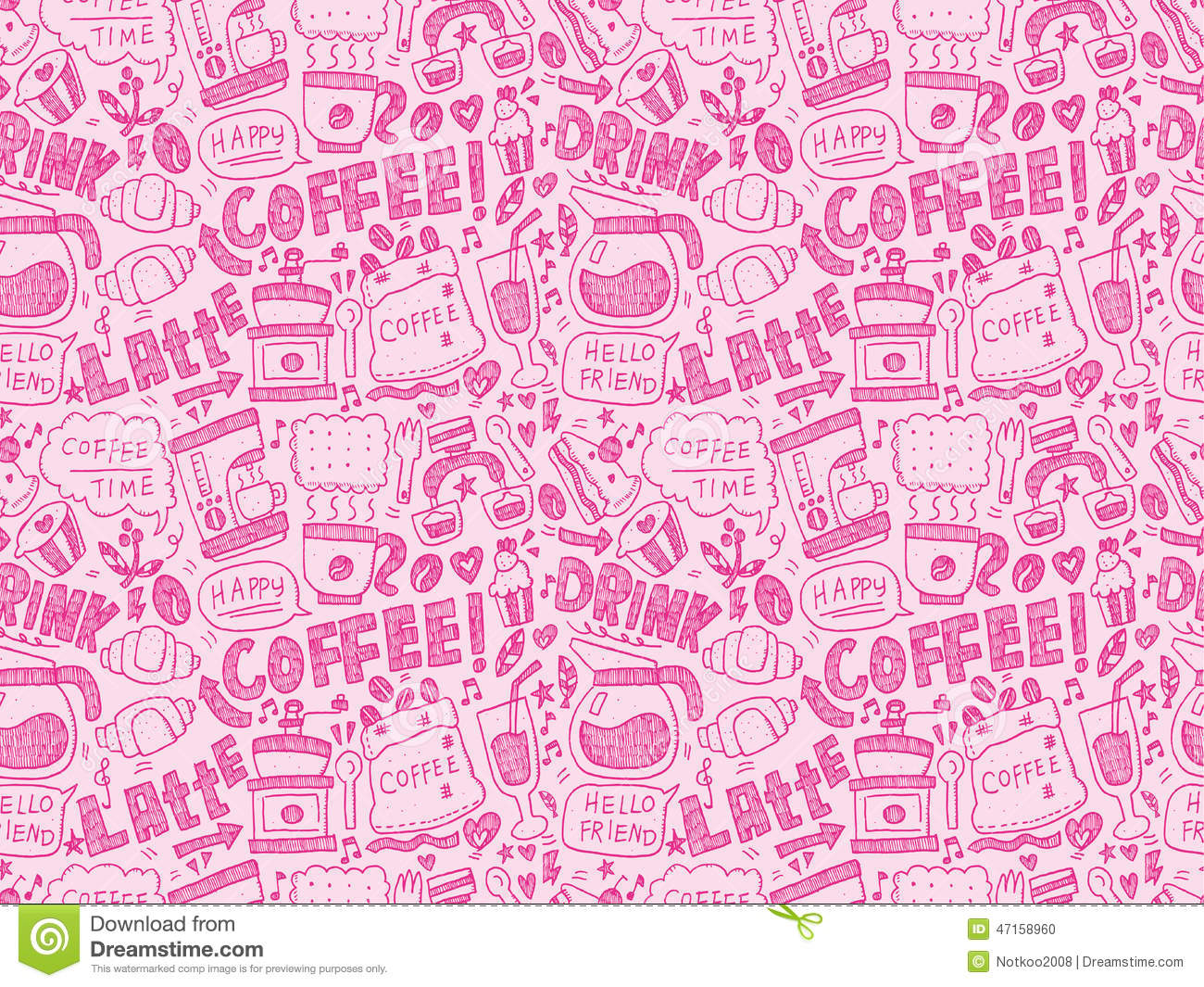 seamless doodle coffee pattern - photo #6
