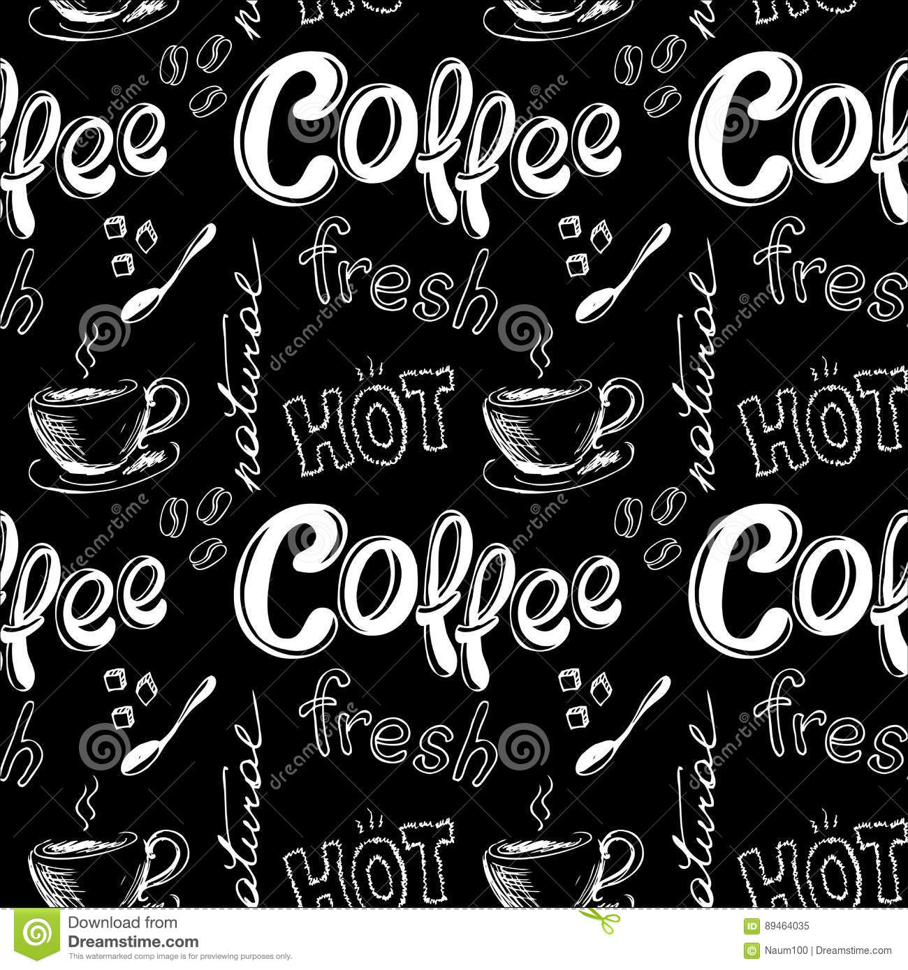 seamless doodle coffee pattern - photo #11