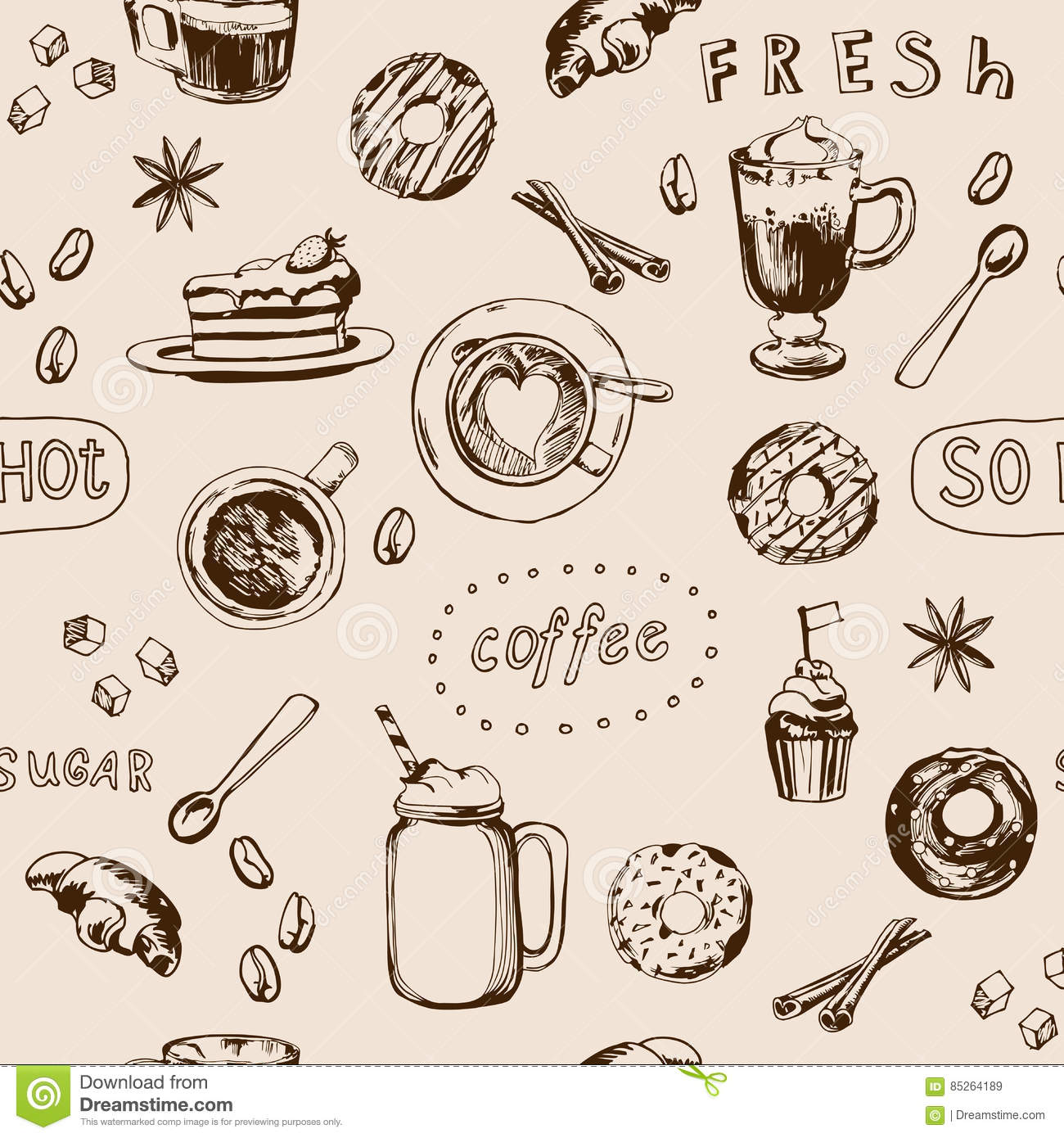 seamless doodle coffee pattern - photo #3