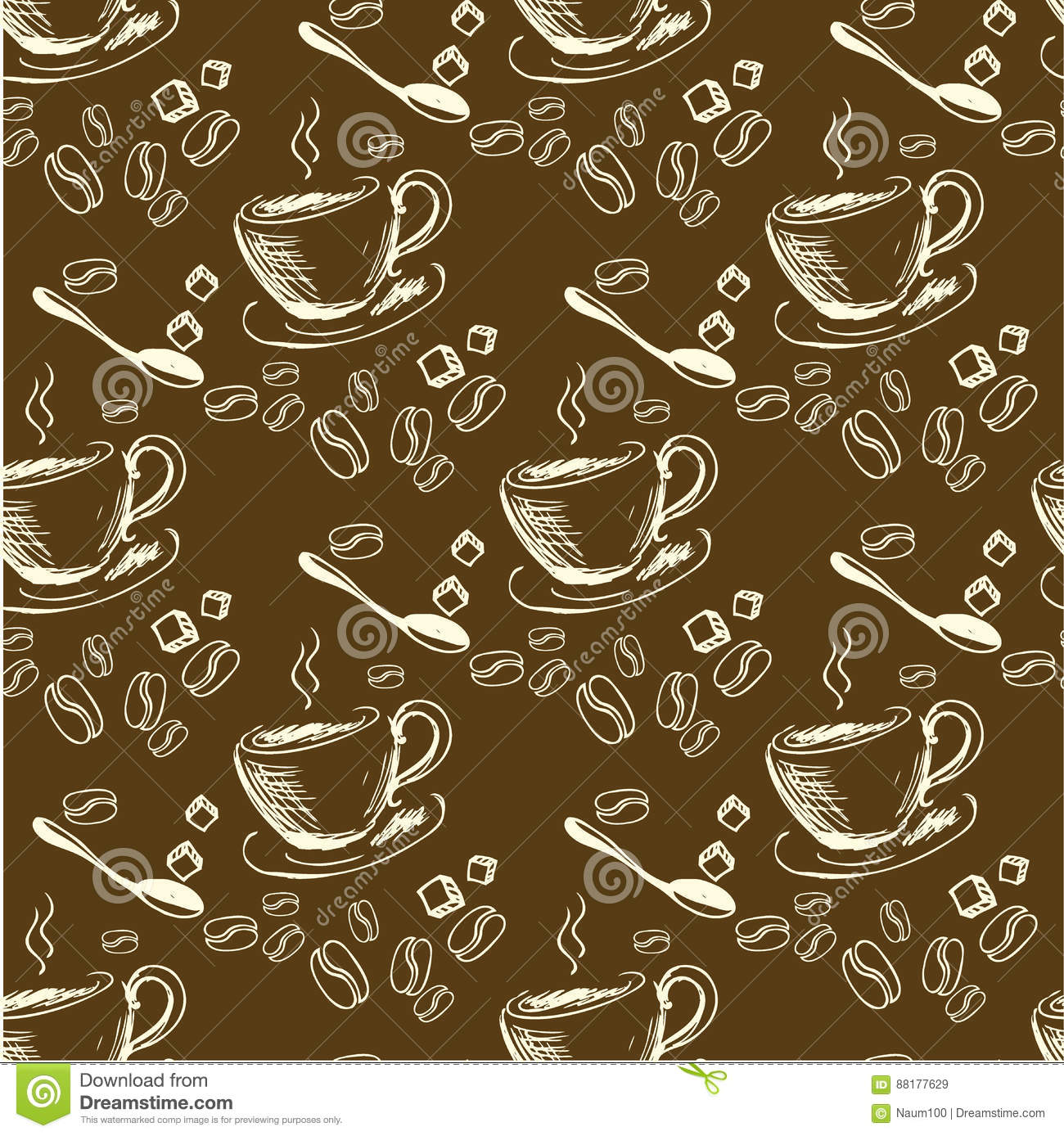 seamless doodle coffee pattern - photo #4