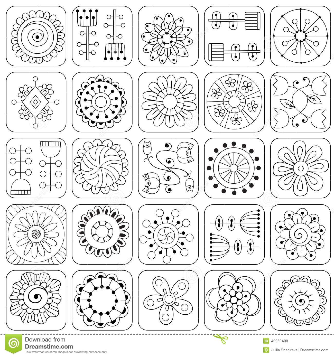 seamless doodle flowers leaves hearts pattern stock vector