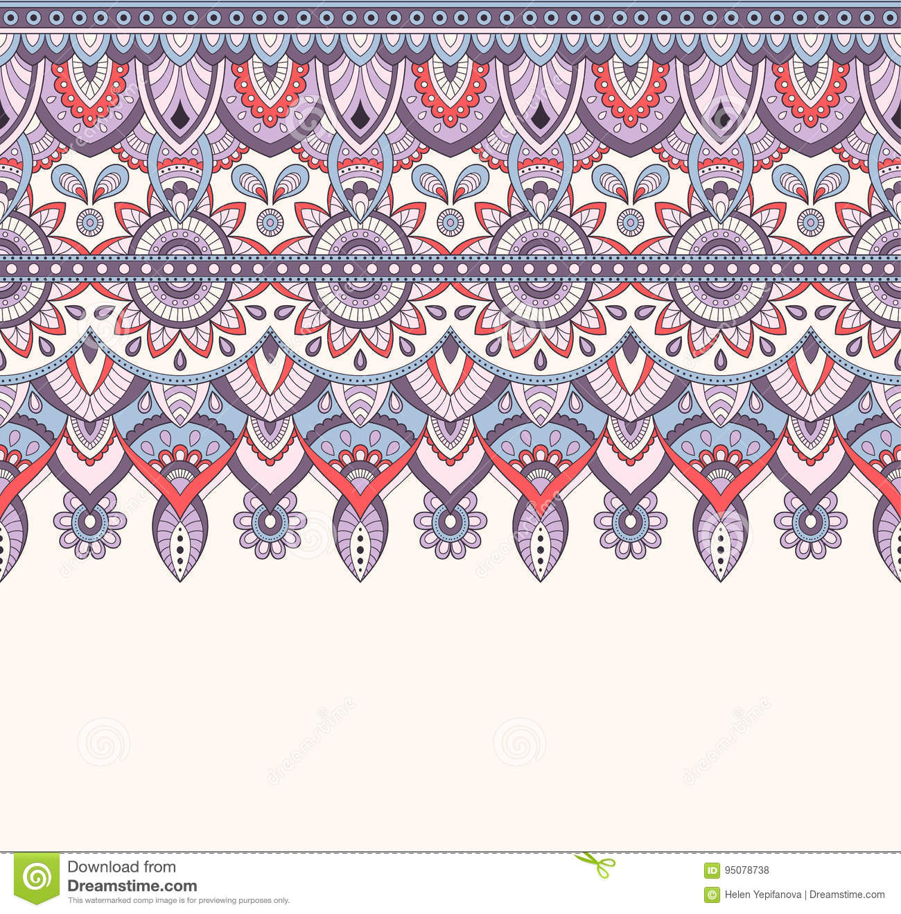 Seamless doodle illustration, zentangle pattern, wallpaper, background texture Indian Orment