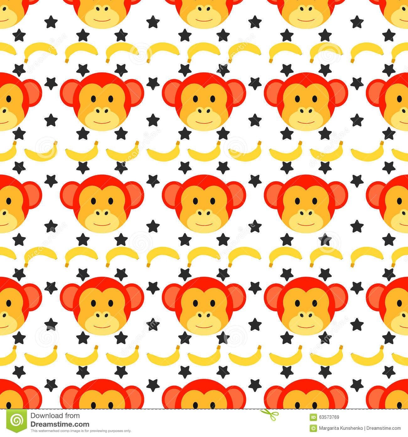 Seamless Doodle Monkey Pattern Stock Vector - Image: 63573769