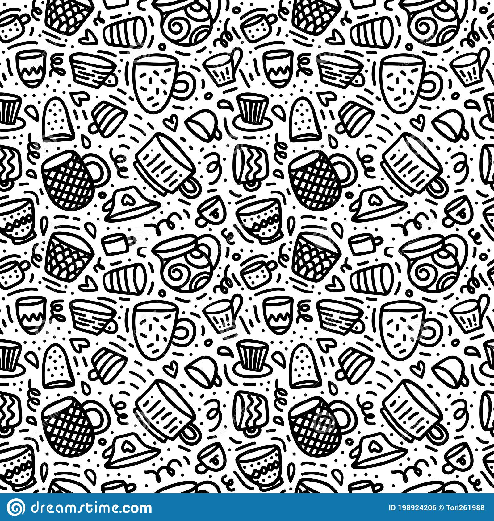 Seamless Doodle Pattern With Cups And Mugs For Coffee Or Tee Time Black Hand Drawn Line Art On White Background Stock Vector Illustration Of Modern Aroma 198924206
